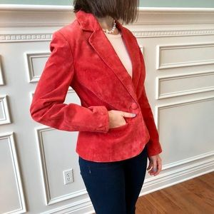 Vibrant coral suede blazer, size S, fits like a 2
